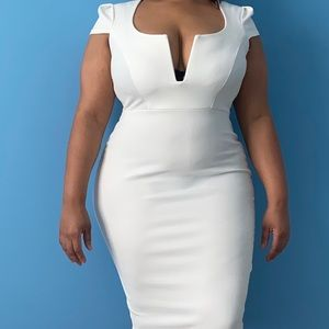 Midi Fitted White Dress